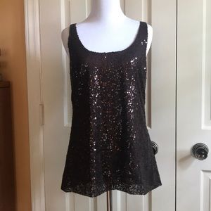 NWT J. Crew Dark Brown Sequins Tank Top. Size 4
